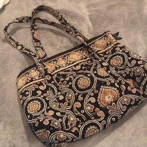 Bag ,Vera Bradley , black , tan , white